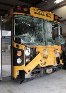 Iron County school bus 948 following a collision, Enoch, Utah, Aug. 26, 2015 | Photo by Carin Miller, St. George News