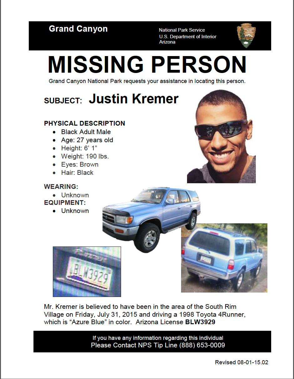 Missing Person Poster = Justin Kremer of Tempe, Arizona, went missing in the area of the South Rim of Grand Canyon National Park July 31. He drives a 1998 Azure Blue, Toyota 4Runner, Arizona License BLW3929. CONTACT National Park Service Tip Line 888-653-0009. | Photos courtesy of the National Park Service, St. George News | Click on image to enlarge