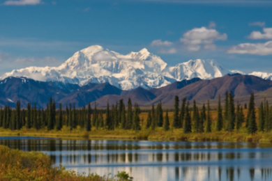 Mt. McKinley; Pres. Obama announced Sunday, Aug. 30, 2015, he will change the name of North America's tallest mountain to Mt. Denali. Grösster Berg von Nordamerika. 6193m. Am Chulitna River, Alaska, not dated | Stock photo, St. George News