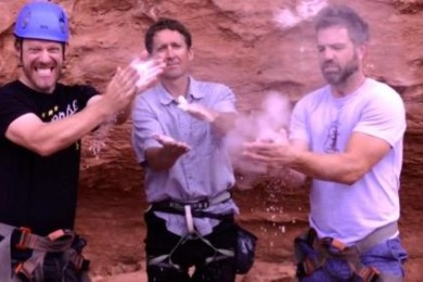 """""""No Filter Show"""" Co-Hosts Grady Sinclair on the left, Paul Ford on the right, with rock climbing instructor Todd Perkins in the center. Chuckwalla Trail, Red Cliffs Reserve, Washington County, Utah, July 2015   Photo by Dan Fowlks, St. George News"""
