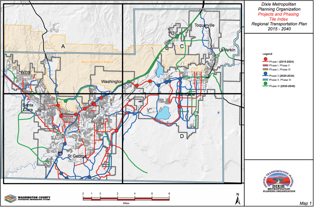 Route proposed for the northern corridor by the Dixie Metropolitan Planning Organization | Image Courtesy Dixie MPO, St. George News