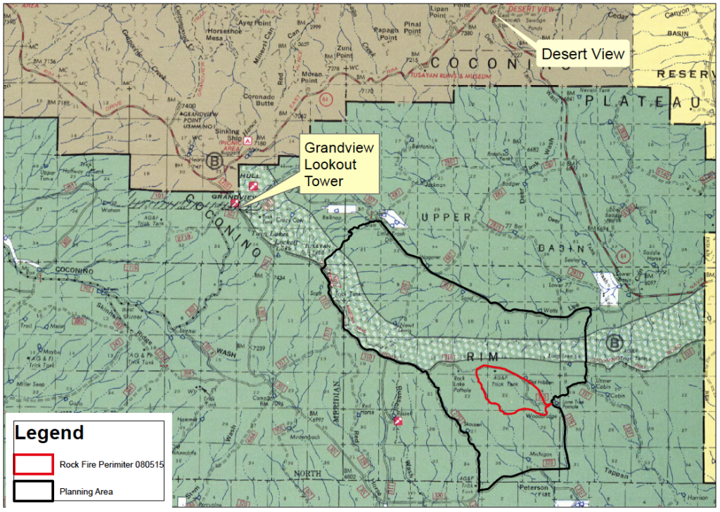 Map shows Rock Fire perimeter outlined in red, with management area outlined in black. Tusayan Ranger District of Kaibab National Forest , Arizona, Aug. 5, 2015 | Map courtesy of the U.S. Forest Service, Southwestern Region, Kaibab National Forest; St. George News