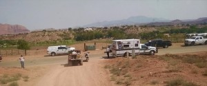 An injured motorcyclist is brought to a waiting ambulance in Santa Clara, Utah, Aug. 20, 2015 | Photo courtesy of Washington County Search and Rescue, St. George News