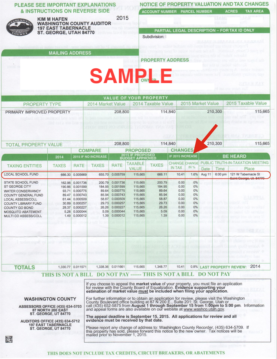 Sample Notice of Property Valuation and Tax Changes issued by Washington County Auditor for 2015 with markup showing the tax increase that was approved by the Washington Board of Education at a Truth-in-Taxation hearing during the Aug. 11 school board meeting at the Washington County School District Office, 121 West Tabernacle Street in St. George   Image markup, St. George News   Click on image to enlarge