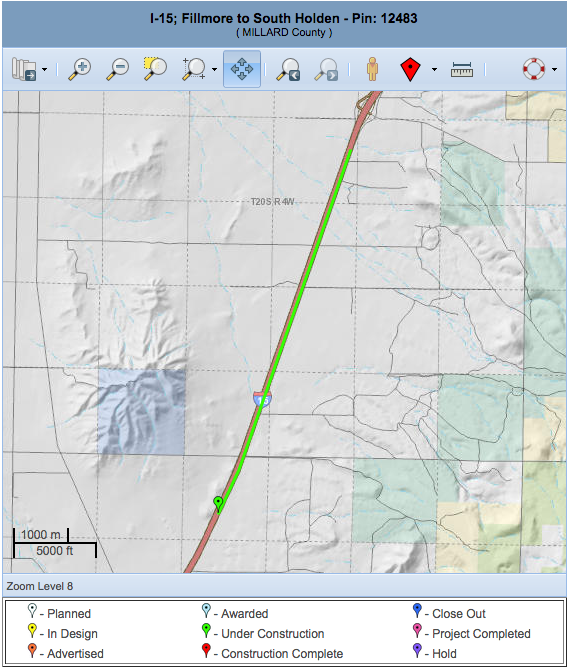 Utah Department of Transportation map of repaving project underway between Fillmore and South Holden, Utah, August through October, 2015 | Map courtesy of UDOT, St. George News