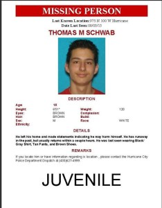 Missing person flyer courtesy of the Hurricane City Police Department, St. George News