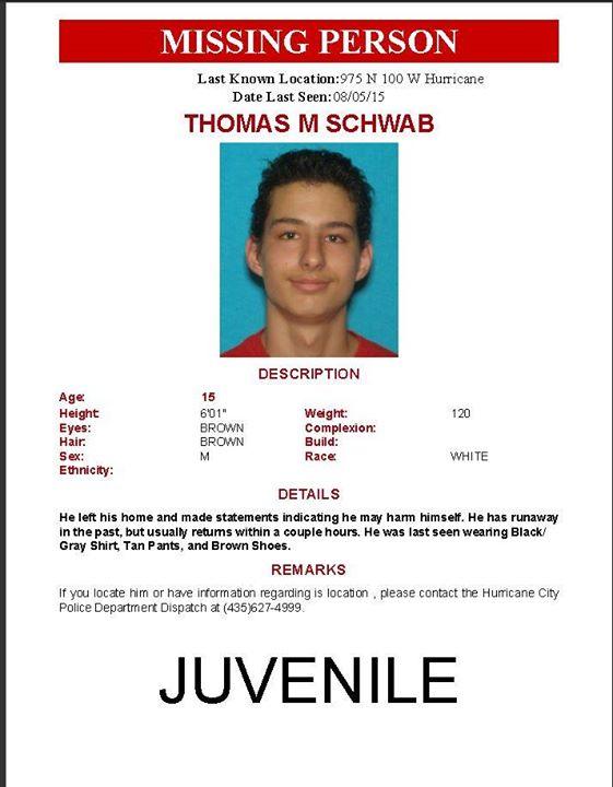 MISSING: 15-year-old Thomas Schwab – Cedar City News