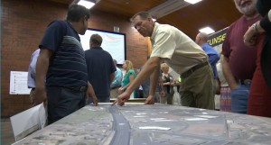 Residents ask questions at the UDOT open house Tuesday about the new design for Bluff Street improvements, St. George, Utah, Aug. 18, 2015 | Photo by Leanna Bergeron, St. George News