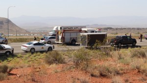 Investigators tend to the scene where a critically-injured man was found on the freeway, Washington City, Utah, Aug. 18, 2015   Photo by Mori Kessler, St. George News