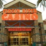 Overlaid image: Entrance to Virgin River Hotel and Casino, Virgin River's 25th Anniversary logo, Mesquite, Nevada, date not specified | Photo and image courtesy of Virgin River General Manager Marty Rapson, St. George News