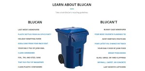 A list of what can and can't go in the BluCan container | Image courtesy of BluCan.org, St. George News