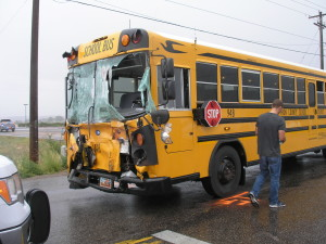 Scene of a collision between a school bus and a well service truck, Enoch, Utah, Aug. 26, 2015 | Photo courtesy of Utah Highway Patrol, St. George News