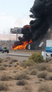 A fatal collision near southbound Interstate 15 Arizona-Nevada State Line has traffic severely backed up, Mohave county, Arizona, Aug. 9, 2015 | Photo courtesy of Ale Ruvalcaba, St. George News