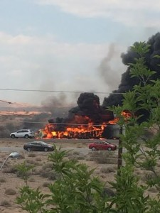 A fatal collision near southbound Interstate 15 Arizona-Nevada State Line has traffic severely backed up, Mohave county, Arizona, Aug. 9, 2015 | Photo courtesy of Sara Anderson, St. George News