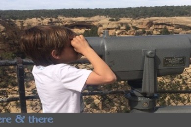 "Columnist Kat Dayton's son longingly views Mesa Verde's Cliff House from across the gorge on the family's quest they call ""Project Replica."" Mesa Verde, Colorado, April 2015 