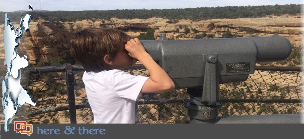 """Columnist Kat Dayton's son longingly views Mesa Verde's Cliff House from across the gorge on the family's quest they call """"Project Replica."""" Mesa Verde, Colorado, April 2015 