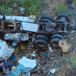Wreckage of a semitrailer found below Hurricane Hill. Police were dispatched to locate the semi on Thursday when someone called it in.  One person is confirmed dead in association with the wreck. Hurricane, Utah, Aug. 27, 2015 | Photo by Kimberly Scott, St. George News