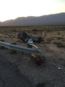 A woman was transported to the hospital after a rollover on northbound Interstate 15 near milepost 5.5, Arizona Strip, Arizona, Aug. 18, 2015 | Photo courtesy of Arizona Department of Public Safety, St. George News