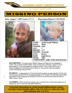 Updated missing person poster for Jerold Joseph Williams | Courtesy of Coconino County Sheriff's Office, St. George News | Click image to enlarge