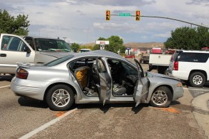Two-vehicle accident on State Street in Hurricane, Utah, Aug. 7, 2015 | Photo by Jessica Tempfer, St. George News