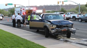 A two-vehicle collision at the intersection of 700 South and River Road resulted in minor injuries, St. George, Utah, Aug. 11, 2015 | Photo by Mori Kessler, St. George News