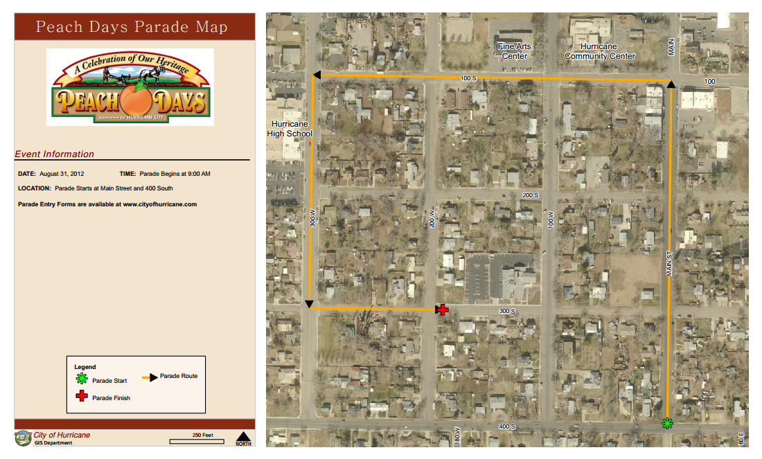 Parade route map | Image courtesy of Hurricane City, St. George News