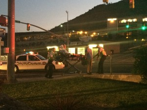 Two pedestrians have a run-in with a car on Bluff Street, St. George, Utah, Aug. 22, 2015 | Photo by Mori Kessler, St. George News