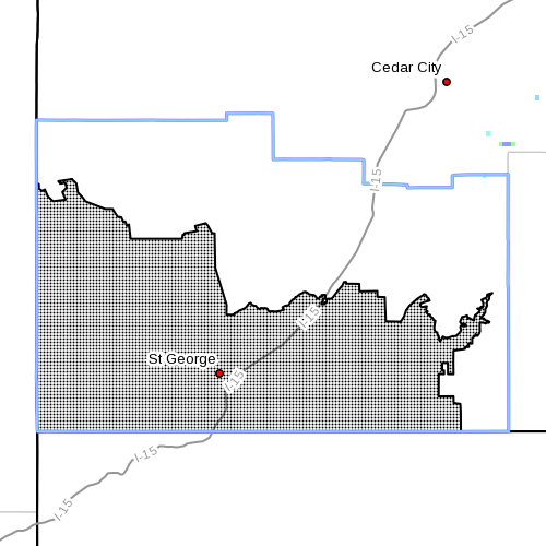 Dots indicate the area subject to the red flag warning, Aug.,17, 2015 | Photo courtesy of National Weather Service, St. George News | Click image to enlarge