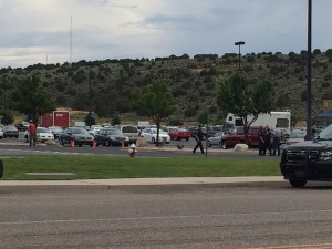 Authorities investigate suspected armed robbery at Wal-Mart, Cedar City, Utah, Aug. 13, 2015 | Photo by Carin Miller, St. George News