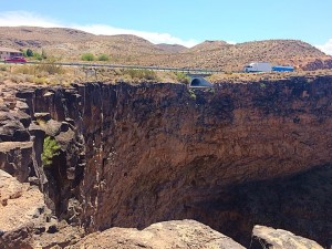 A semitruck that went off a 200-foot cliff on state Route 59 near the Hurricane Hill Trailhead, Hurricane, Utah, Aug. 27, 2015 | Photo by Kimberly Scott, St. George News
