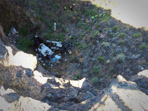 A man was found dead in a semitruck that went off a 200-foot cliff on state Route 59 near the Hurricane Hill Trailhead, Hurricane, Utah, Aug. 27, 2015 | Photo by Kimberly Scott, St. George News