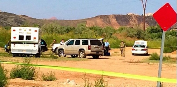 The scene where Zions Bank robbery suspect Benjamin Schroff was brought down, Washington, Utah, Sept. 11, 2014 | Photo by Kimberly Scott, St. George News