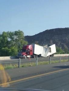 Buckled semitrailer on southbound I-15 near milepost 22, Leeds, Utah, Aug. 18, 2015   Photo courtesy of Austin Prather, St. George News