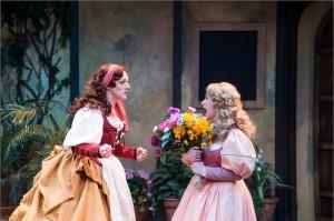"Melinda Pfundstein, left, as Katherine and Natasha Harris as Bianca in the Utah Shakespeare Festival's 2015 production of ""The Taming of the Shrew,"" Cedar City, Utah, circa 2015 | Photo by Karl Hugh, courtesy of Utah Shakespeare Festival, St. George News"