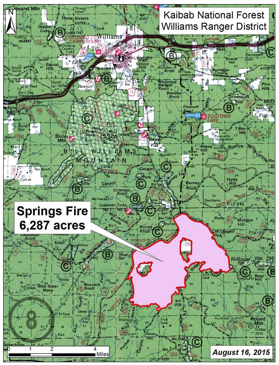 Springs Fire in Williams Ranger District of Kaibab National Forest, Arizona.  Mapped area as of Sunday, Aug. 16, 2015 | Map courtesy of Kaibab National Forest, St. George News