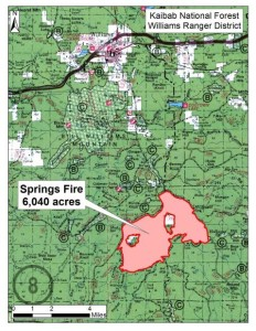 Map of Springs Fire burning in the Kaibab National Forest, Williams, Arizona, Aug. 10, 2015 | Map courtesy of USDA Forest Service, Kaibab National Forest - South Zone, St. George News