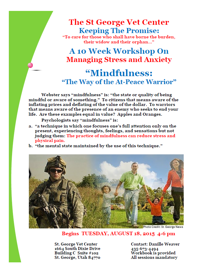Mindfulness flyer | Image courtesy of Bruce Solomon, St. George News