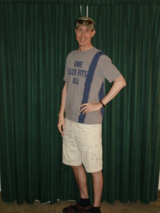 "Photo of Warren Jeffs in ""gentile"" clothing; the T-shirt is said to have come from a pornography shop in Las Vegas, Nevada, date and location not specified 