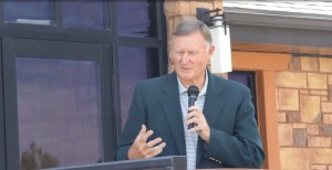 Utah State Senator Even Vickers speaks to the crowd about the importance of involving local workers when beginning projects, Cedar City, Utah, Sept. 28, 2015 | Photo by Devan Chavez, St. George News