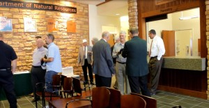 Those attending the ribbon cutting ceremony mingle with one another inside the new DNR Southwest Regional Complex, Cedar City, Utah, Sept. 28, 2015 | Photo by Devan Chavez, St. George News