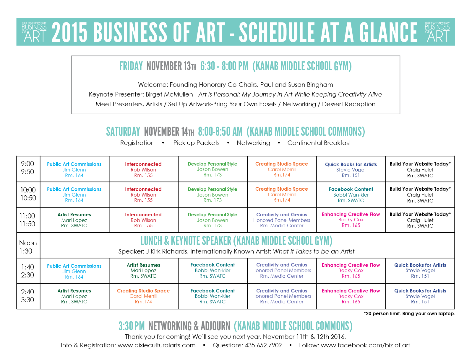 Business of Art schedule   Image courtesy of Dixie State University, St. George News   Click on image to enlarge