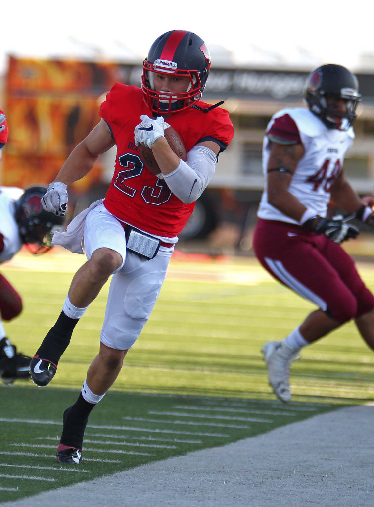Nate Stephens (23) tip-toes down the sideline for the Red Storm, Dixie State University vs. Central Washington University, St. George, Utah, Sept. 10, 2015, | Photo by Robert Hoppie, ASPpix.com, St. George News