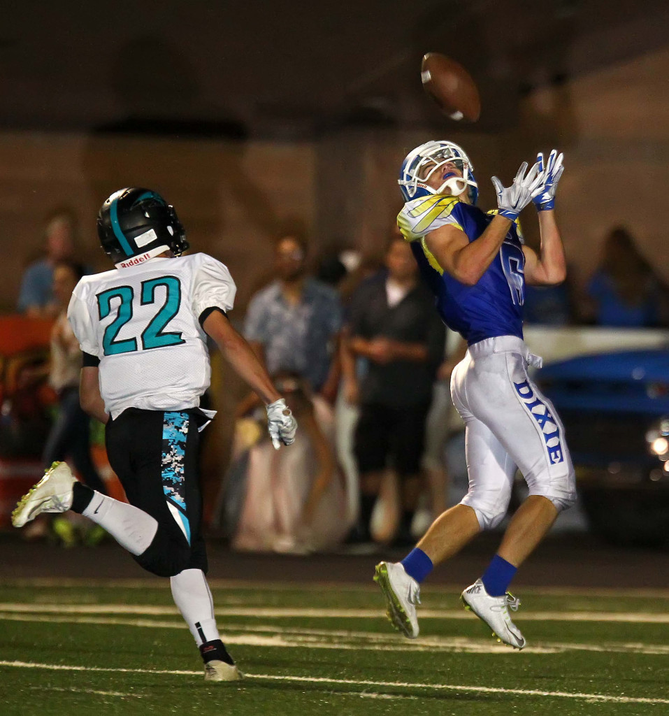 Jaden Harrison (6) hauls in a deep pass for a touchdown, Dixie vs. Canyon View, Football, St. George, Utah, Sept. 11, 2015, | Photo by Robert Hoppie, ASPpix.com, St. George News