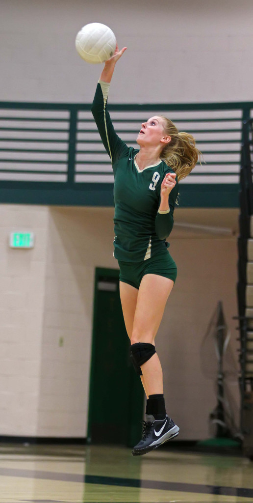 Nikenna Durante (9) serves for Snow Canyon, Snow Canyon vs. Hurricane, Volleyball, St. George, Utah, Sept. 29, 2015, | Photo by Robert Hoppie, ASPpix.com, St. George News