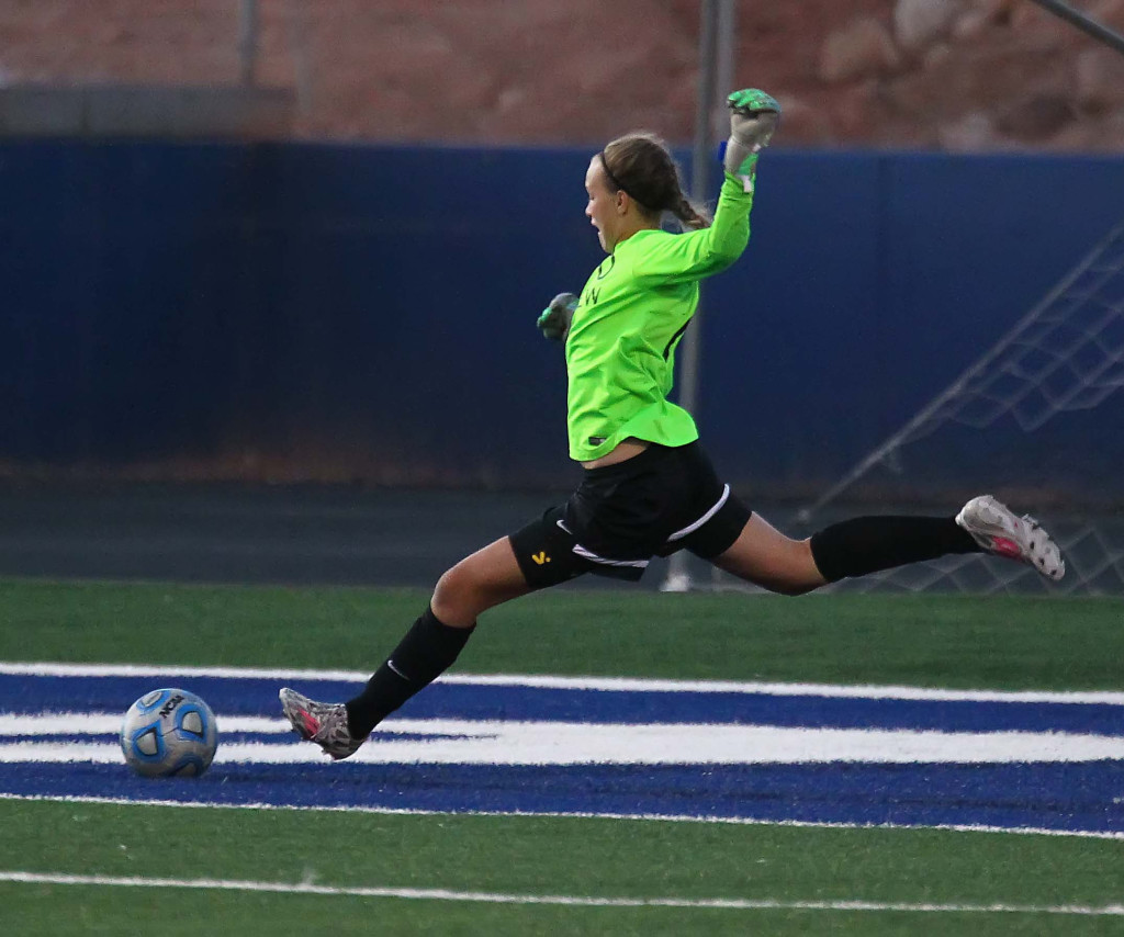 Pine View goalkeeper Alena Lorentzen, Dixie vs. Pine View, Girls Soccer, St. George, Utah, Sept. 17, 2015, | Photo by Robert Hoppie, ASPpix.com, St. George News