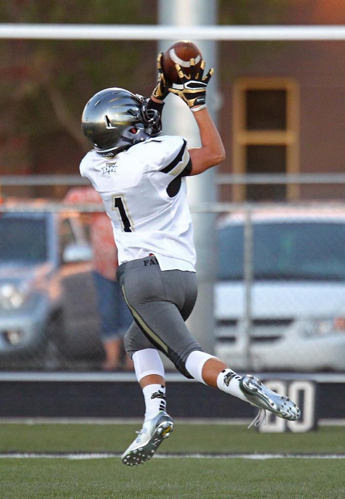Thunder receiver Cody Rickets (1) makes a touchdown catch, Hurricane vs. Desert Hills, Football, Hurricane, Utah, Sept. 18, 2015, | Photo by Robert Hoppie, ASPpix.com, St. George News