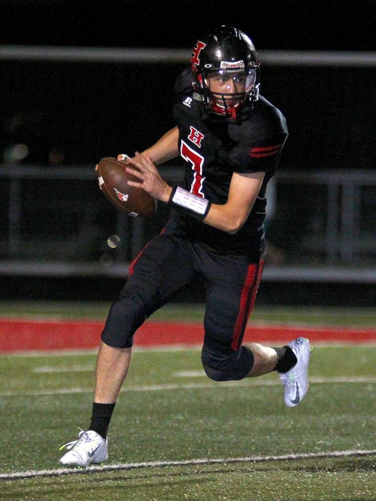 Hurricane quarterback Josh Parker (7), file photo from Hurricane vs. Desert Hills, Football, Hurricane, Utah, Sept. 18, 2015, | Photo by Robert Hoppie, ASPpix.com, St. George News