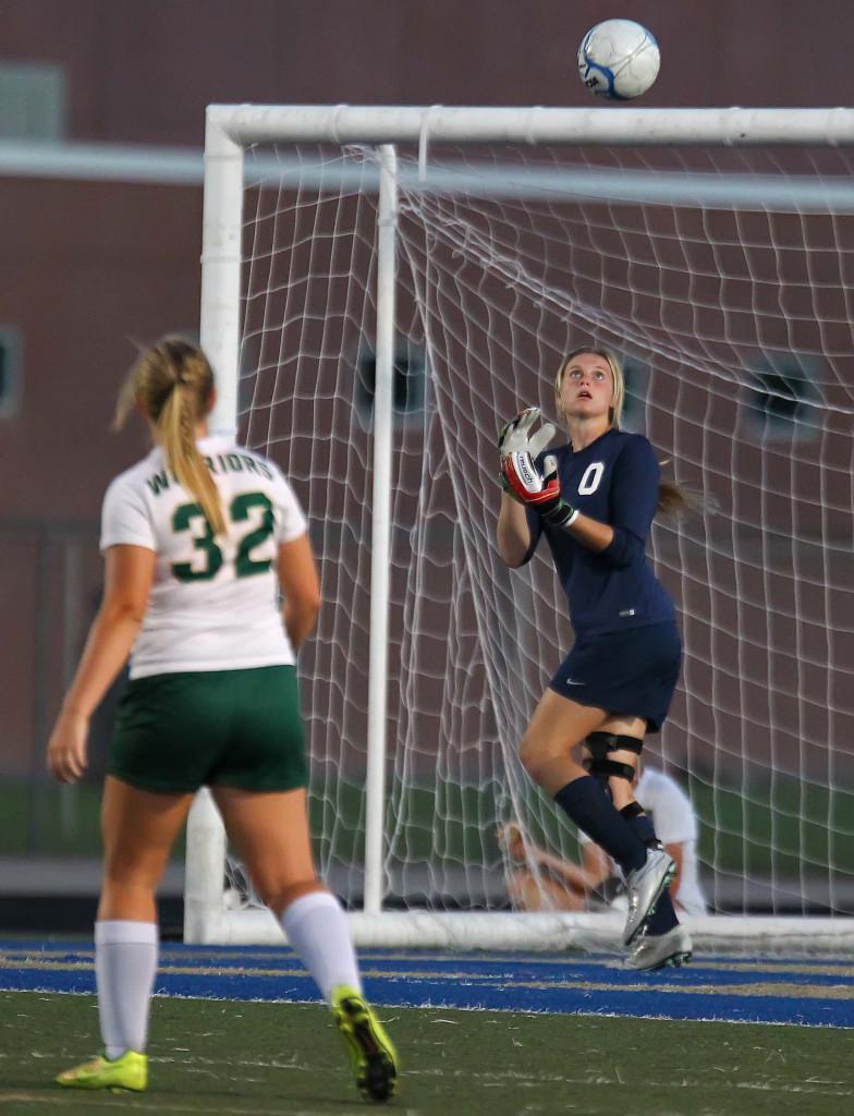 Snow Canyon goalkeeper Mada Mooring (0), Snow Canyon vs. Desert Hills, Girls Soccer, Hurricane, Utah, Sept. 21, 2015, | Photo by Robert Hoppie, ASPpix.com, St. George News