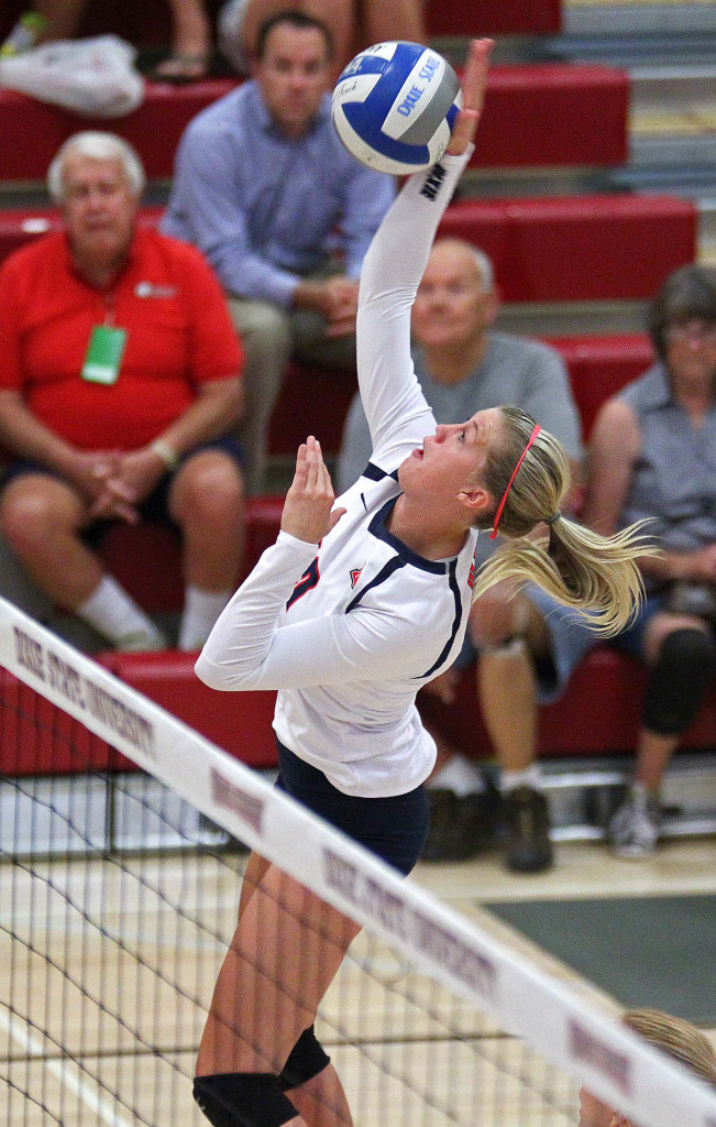 Brette Anderson, Dixie State University Volleyball, St. George, Utah, Sept. 2, 2015, | Photo by Robert Hoppie, ASPpix.com, St. George News