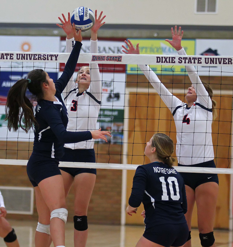 Dixie State's Lindsey Jones (3) and Taylor Duryea (4), Dixie State University vs. Notre Dame de Namur University, Volleyball, St. George, Utah, Sept. 23, 2015, | Photo by Robert Hoppie, ASPpix.com, St. George News